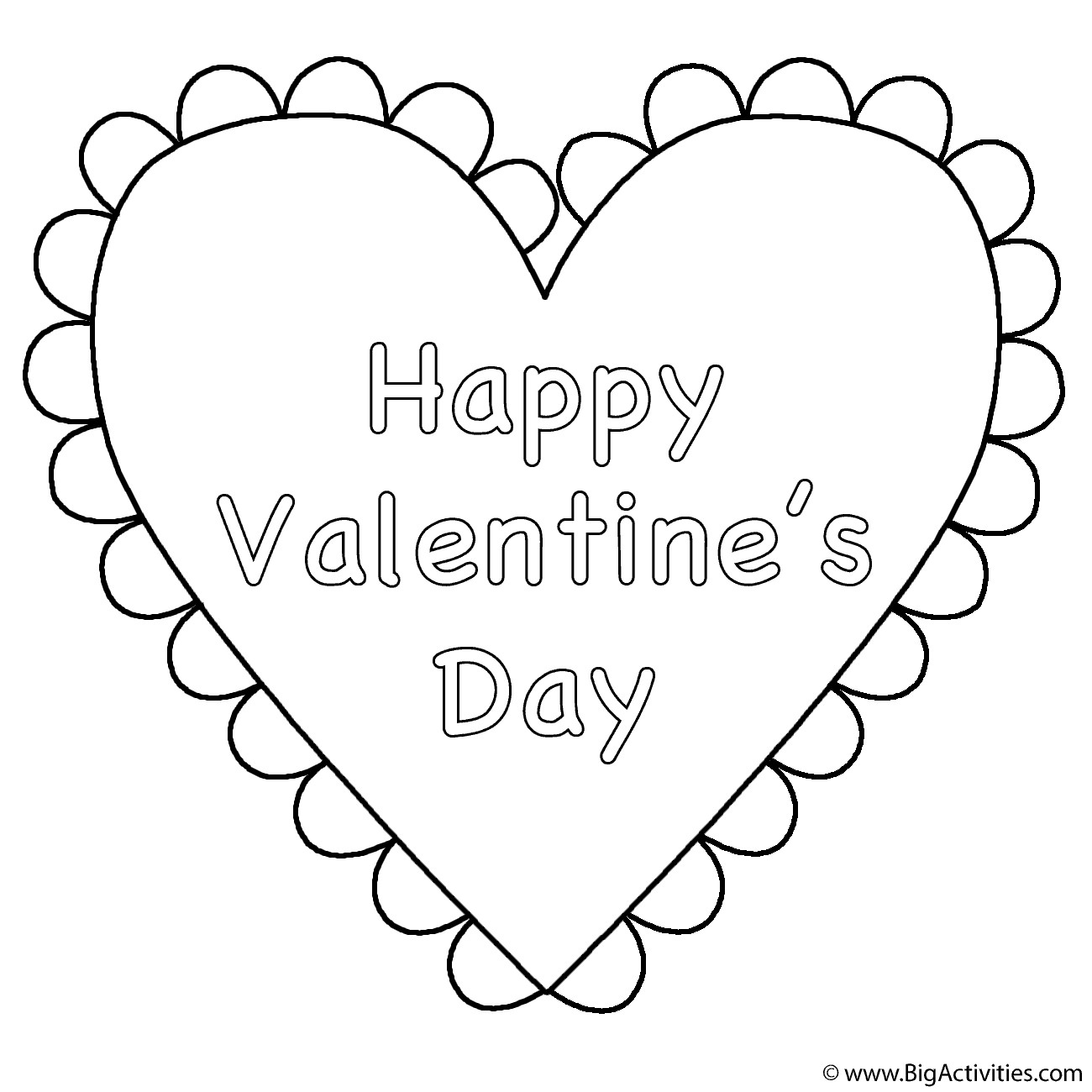 Happy Valentines Day Coloring Pages  Heart Happy Valentine s Day Coloring Page Valentine s