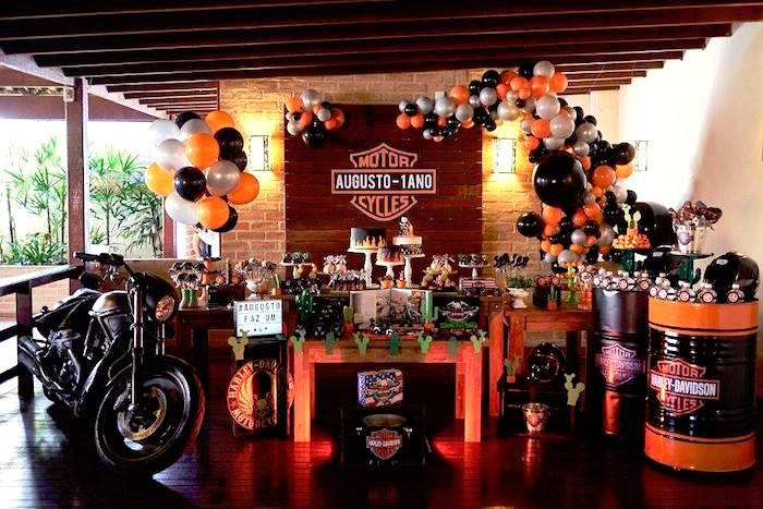 Best ideas about Harley Davidson Birthday Decorations . Save or Pin Kara s Party Ideas Harley Davidson Birthday Party Now.