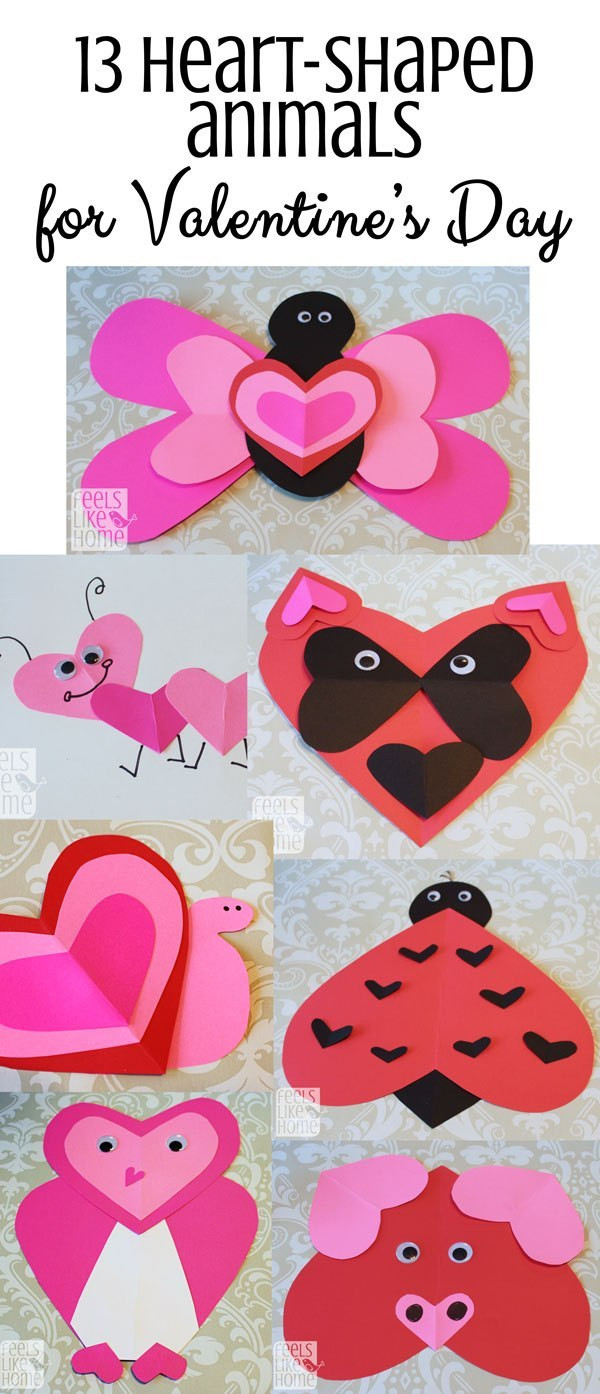 Heart Craft Ideas For Preschoolers  Valentine s Day Heart Animal Crafts for Kids Feels Like