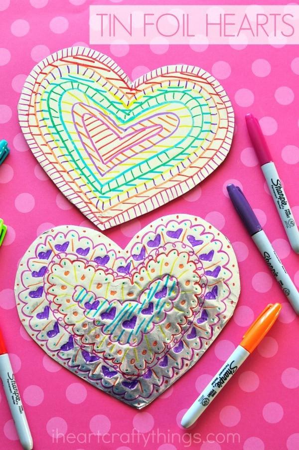 Heart Craft Ideas For Preschoolers  Tin Foil Heart Valentine s Day Craft