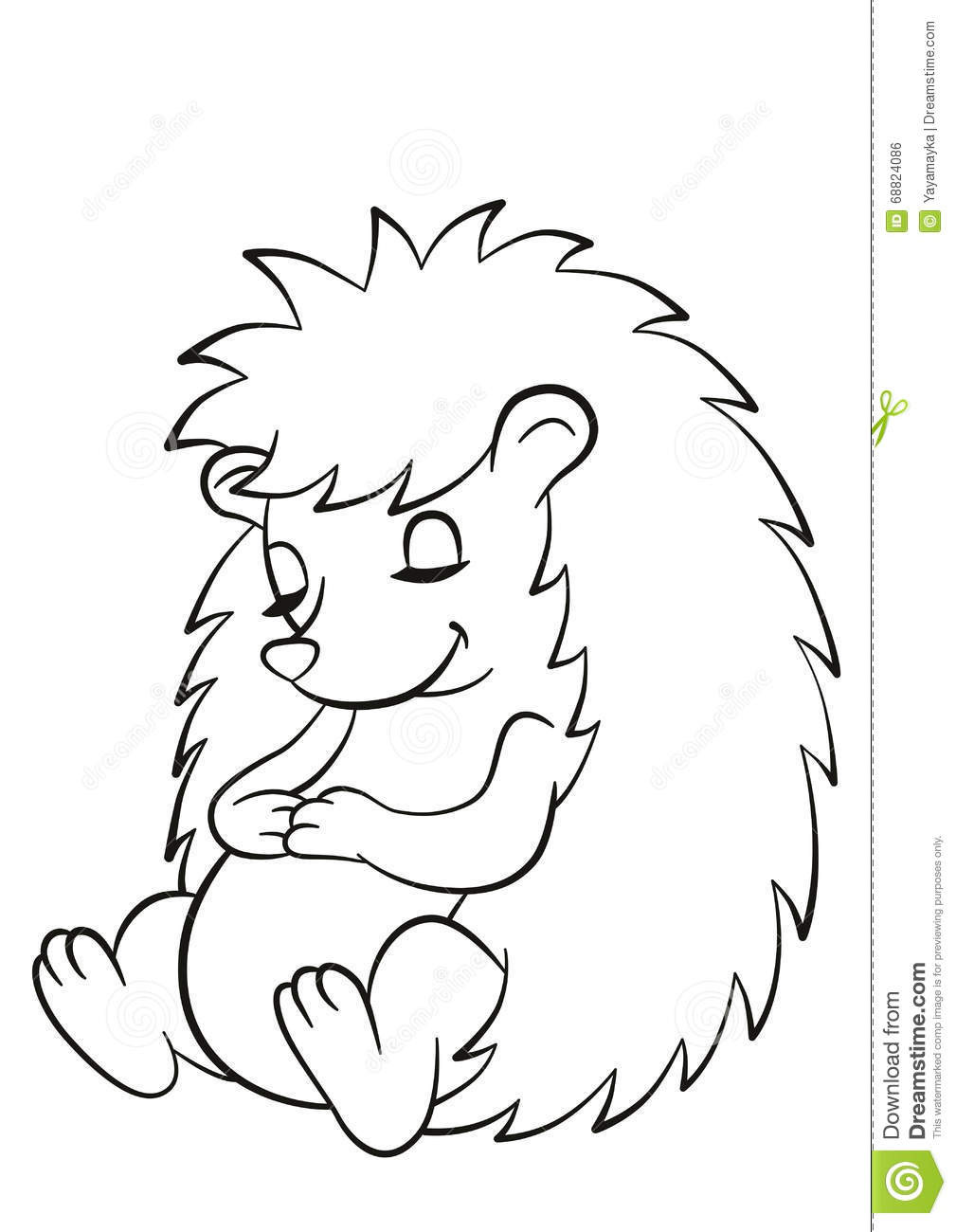 Hedgehog Coloring Pages  Little Cute Hedgehog Sits And Sleeps Stock Vector