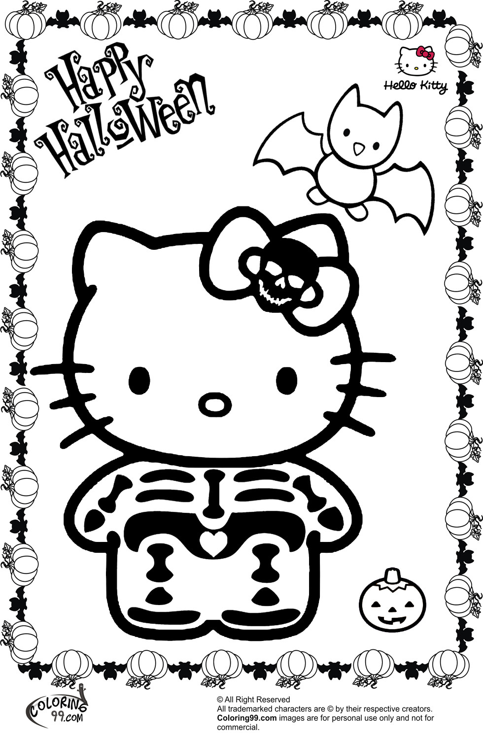 Hello Kitty Halloween Coloring Pages For Kids  Hello Kitty Halloween Coloring Pages