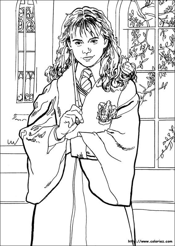Hermione Granger Coloring Pages  COLORIAGE Hermione et sa baguette