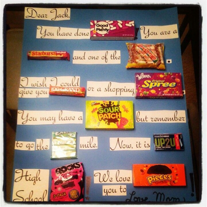 High School Graduation Gift Ideas For Son  I just made this Candy gram for my son s middle school