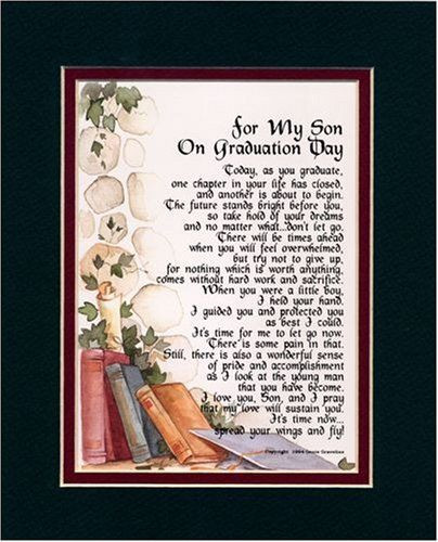 "High School Graduation Gift Ideas For Son  ""For My Son on Graduation Day"" Touching 8x10 Poem Double"