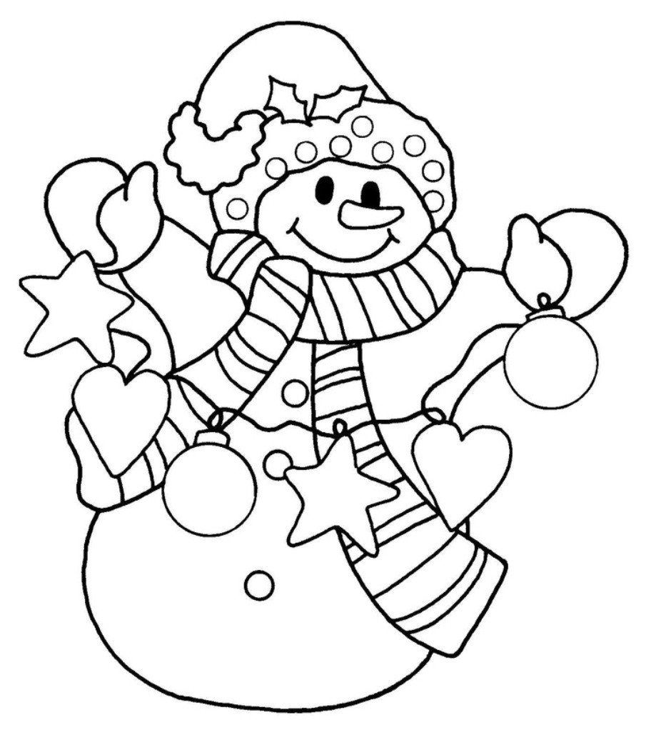 Holiday Coloring Pages For Kids  happy snowman christmas coloring pages