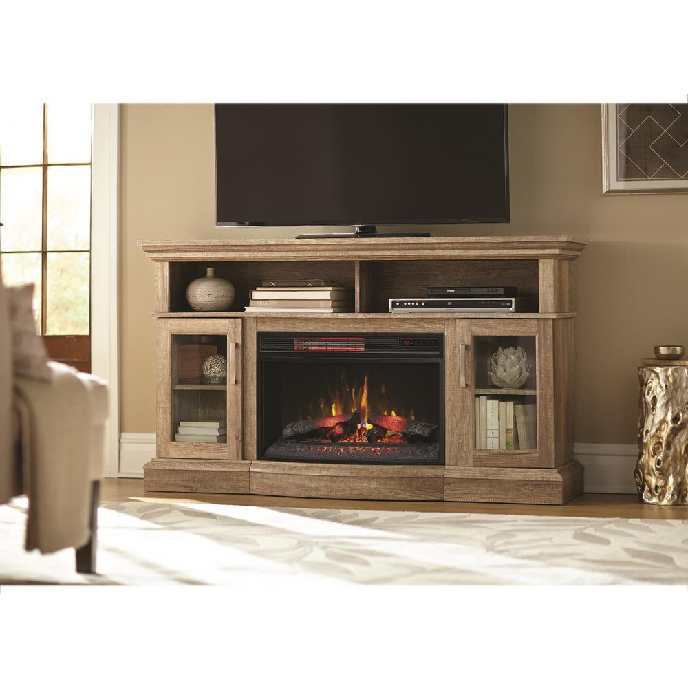 Best ideas about Home Depot Fireplace Tv Stand . Save or Pin Home Decorators Collection Hawkings Point 59 5 in Rustic Now.