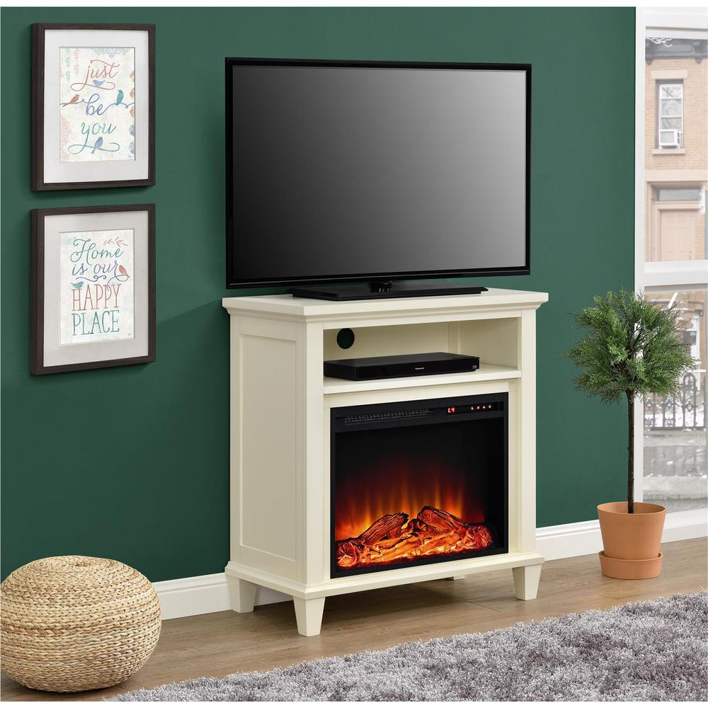 Best ideas about Home Depot Fireplace Tv Stand . Save or Pin Ameriwood Ellington 32 in Ivory TV Stand with Electric Now.