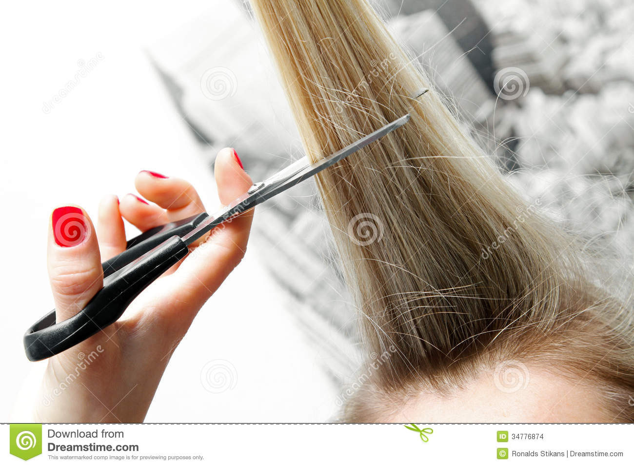 Best ideas about How To Cut Mens Long Hair With Scissors . Save or Pin Woman Cutting Long Hair With Scissors Stock Image Now.