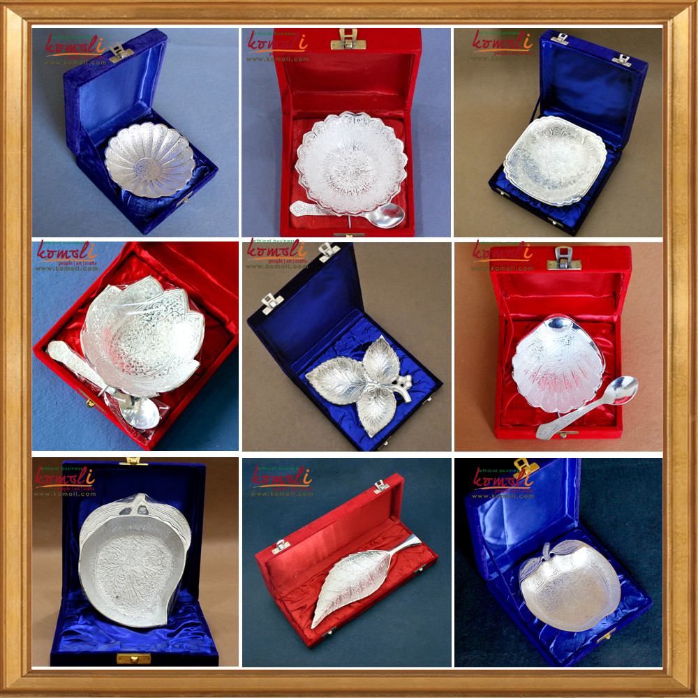 Indian Baby Shower Gift Ideas  Round Brass Silver Plated Bowl With Spoon 2019 Diwali