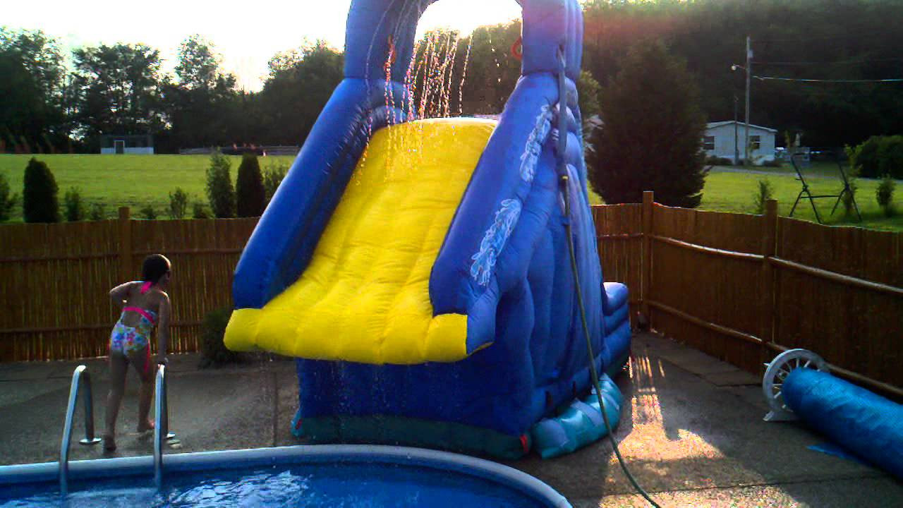 Best ideas about Inflatable Pool Slides For Inground Pools . Save or Pin Crazy fun on the inflatable Banzai Blaster pool slide in Now.