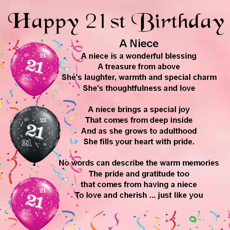 Inspirational Birthday Wishes For A Niece  Personalised Coaster Niece Poem 21st Birthday FREE