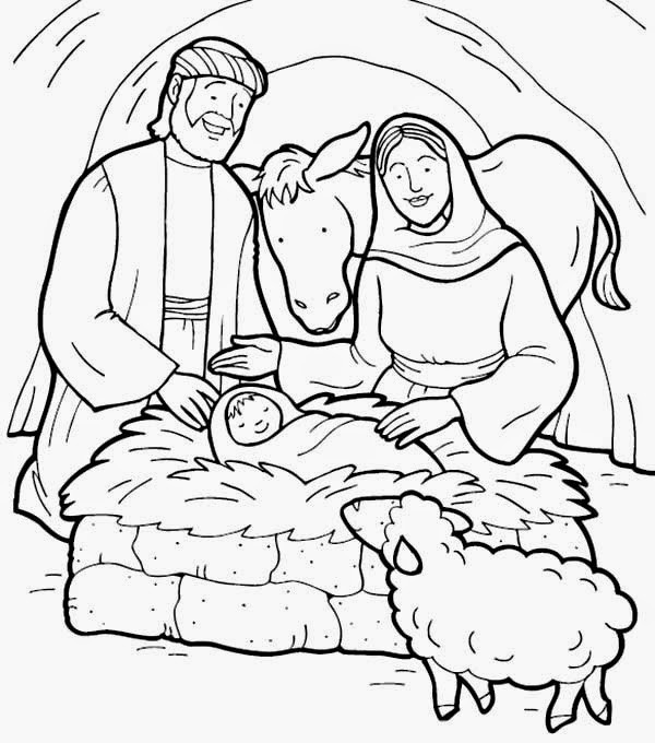 Jesus Born Printable Coloring Pages  Dibujos Cristianos para colorear Nacimiento de Jesus
