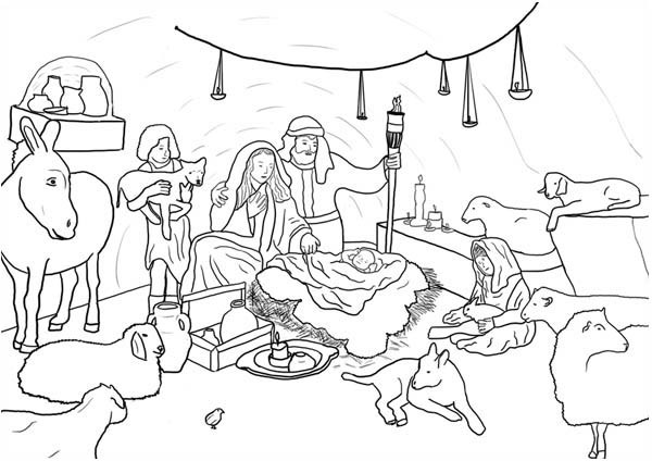 Jesus Born Printable Coloring Pages  Jesus Born in Bethlehem in Nativity Coloring Page