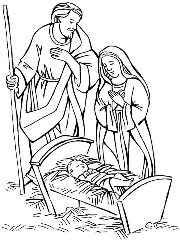 Jesus Born Printable Coloring Pages  Birth Jesus Drawing at GetDrawings