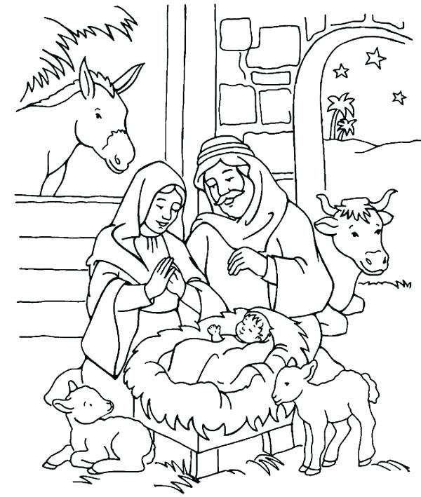 Jesus Born Printable Coloring Pages  Birth Jesus Coloring Page Scenery Nativity In
