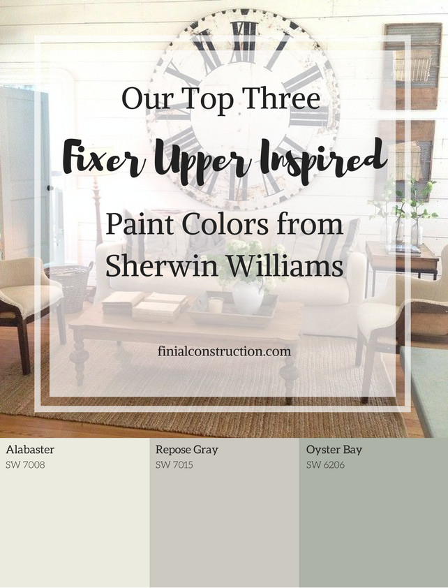 Best ideas about Joanna Gaines Paint Colors Sherwin Williams . Save or Pin Our Top Three Fixer Upper Inspired Paint Colors from Now.