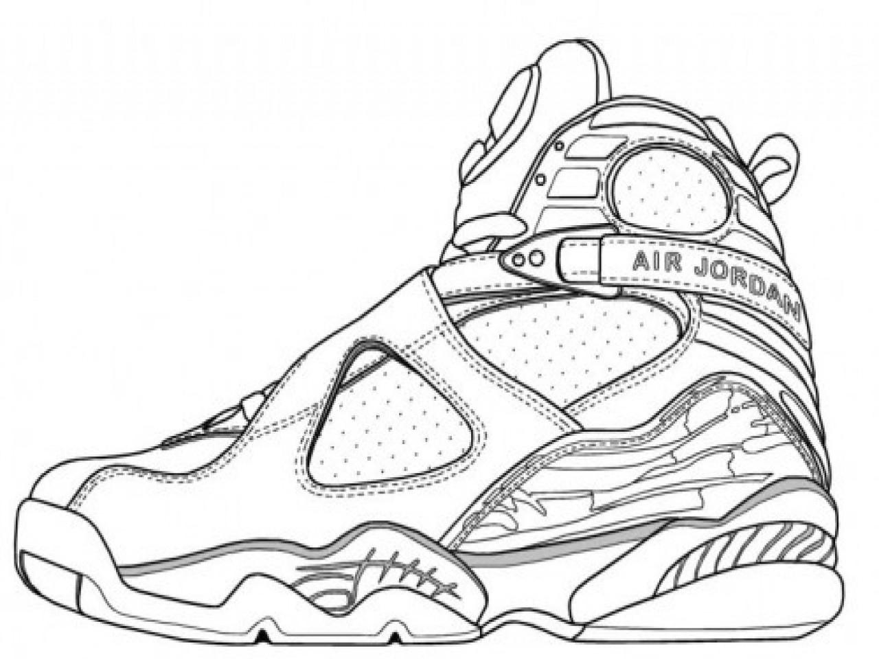 Jordan Coloring Pages  Jordan 14 Coloring Drawn Jordania Shoe Pencil And In Color