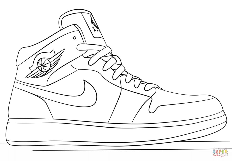 Jordan Coloring Pages  Nike Jordan Sneakers coloring page
