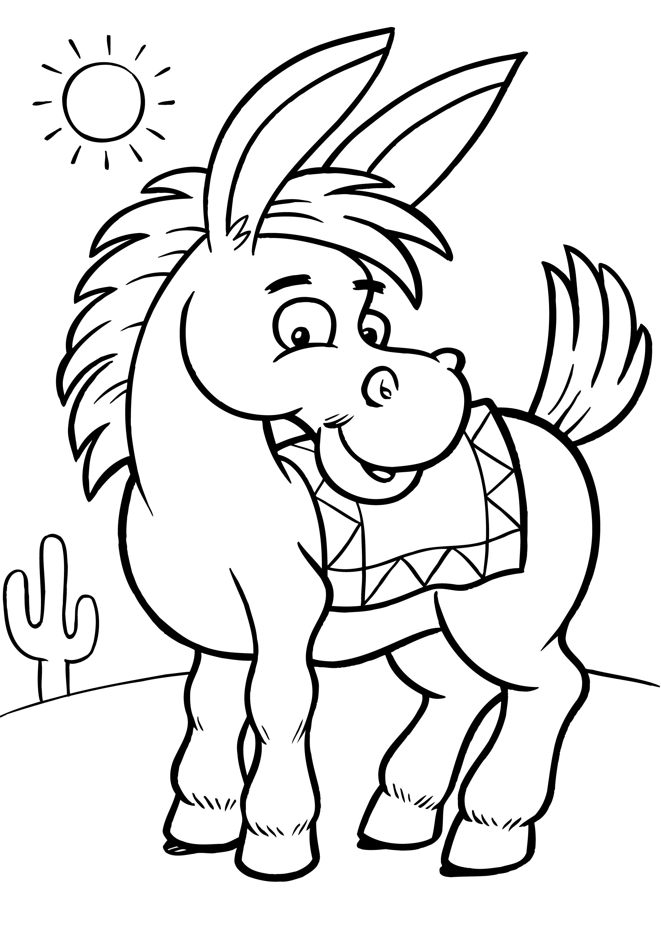 Kids Free Coloring Sheets  Free Printable Donkey Coloring Pages For Kids