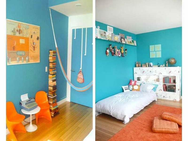 Best ideas about Kids Room Paint Colors . Save or Pin Kids Room Paint Ideas with orange seat Home Interior Design Now.