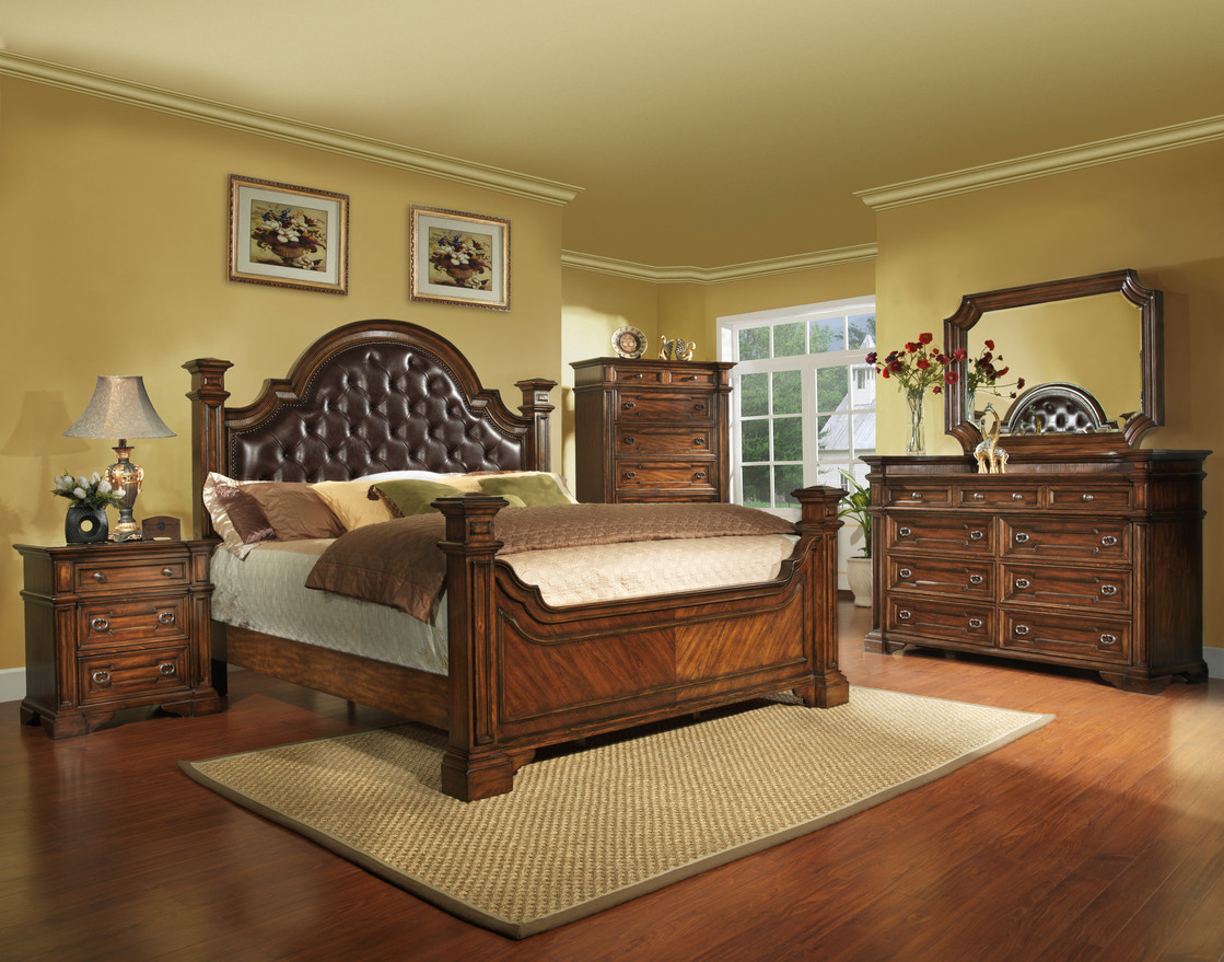 Best ideas about King Size Bedroom Set . Save or Pin King Size Antique Brown Bedroom Set Wood Free Shipping Now.