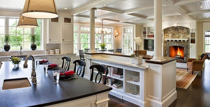 Best ideas about Kitchen Open To Family Room . Save or Pin Open concept kitchen to great room Beautiful shelf Now.