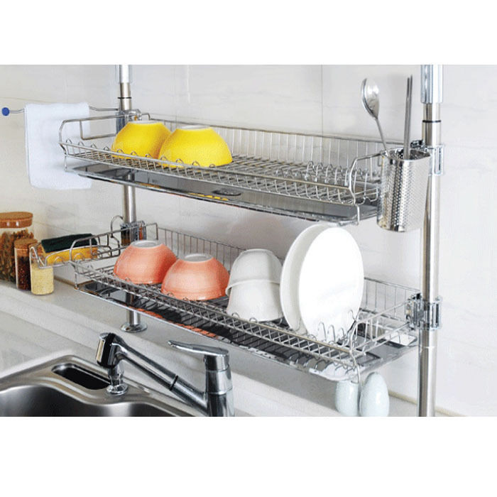 Best ideas about Kitchen Organizer Rack . Save or Pin Stainless Fixing Double Shelf Dish Drying Rack Drainer Now.