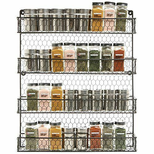 Best ideas about Kitchen Organizer Rack . Save or Pin Spice Rack Storage Wire Pantry Rustic Chicken Cabinet Wall Now.