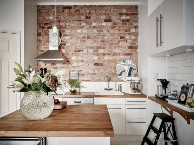 Best ideas about Kitchens With Brick Accent Walls . Save or Pin 30 Trendy Brick Accent Wall Ideas For Every Room DigsDigs Now.