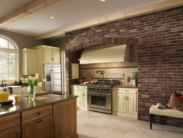 Best ideas about Kitchens With Brick Accent Walls . Save or Pin Brick Kitchen Accent Wall Traditional Kitchen by Now.