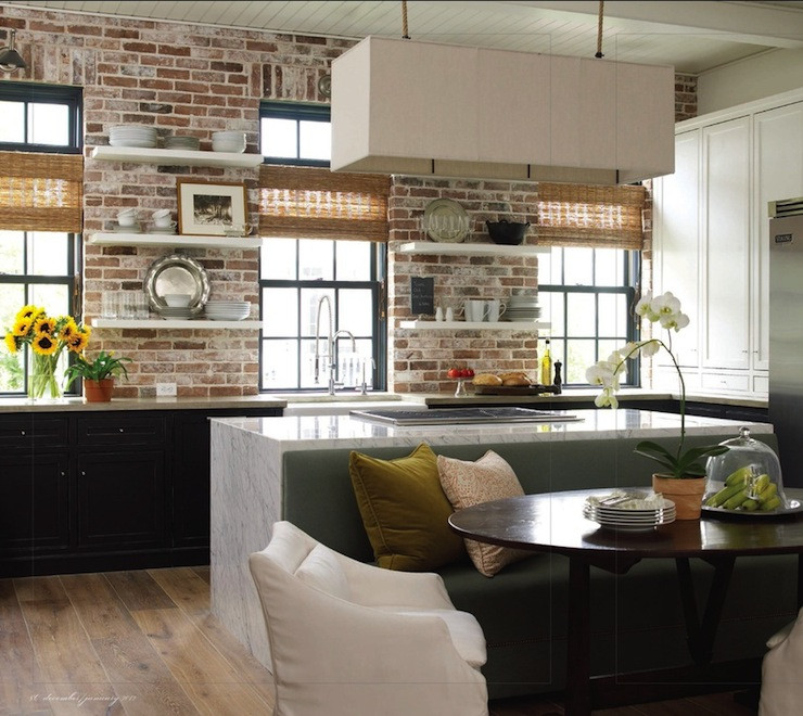 Best ideas about Kitchens With Brick Accent Walls . Save or Pin Rectangular Shade Pendant Cottage kitchen Bella Casa Now.