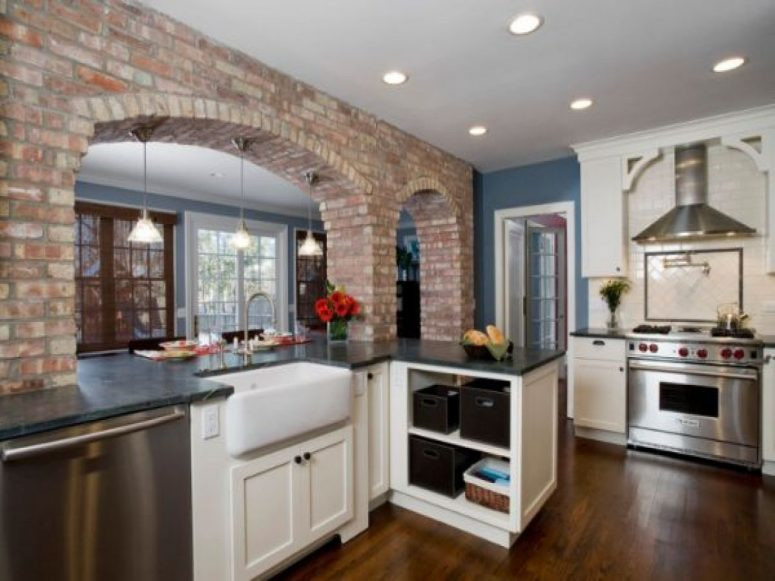 Best ideas about Kitchens With Brick Accent Walls . Save or Pin Kitchen Cupboards Made With Bricks White Stained Iron Now.