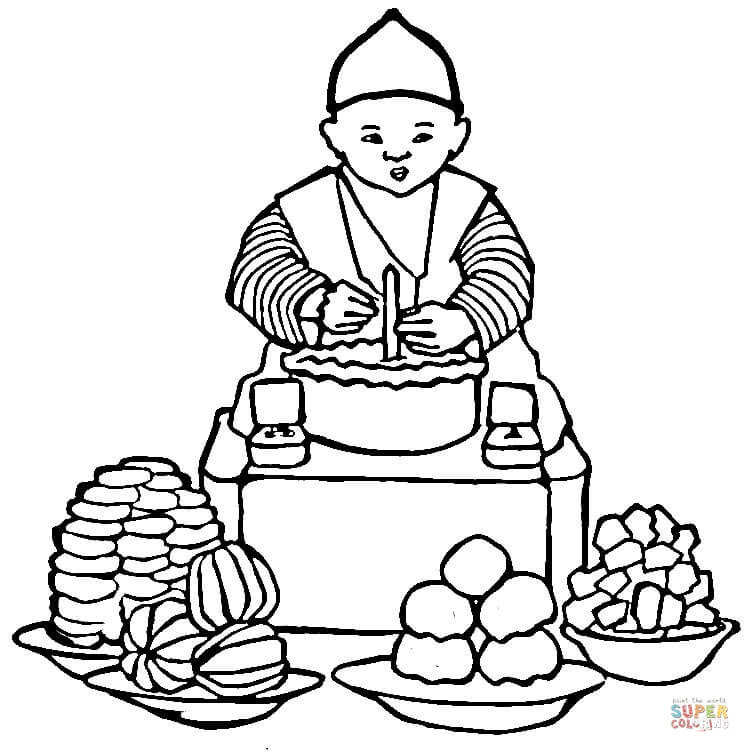 Korean Coloring Book  Korean Food coloring page