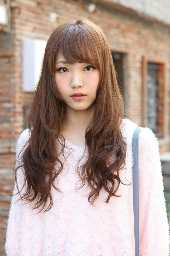 Korean Hairstyles Female  Cute Korean Hairstyle for Girls Long Brown Hair With