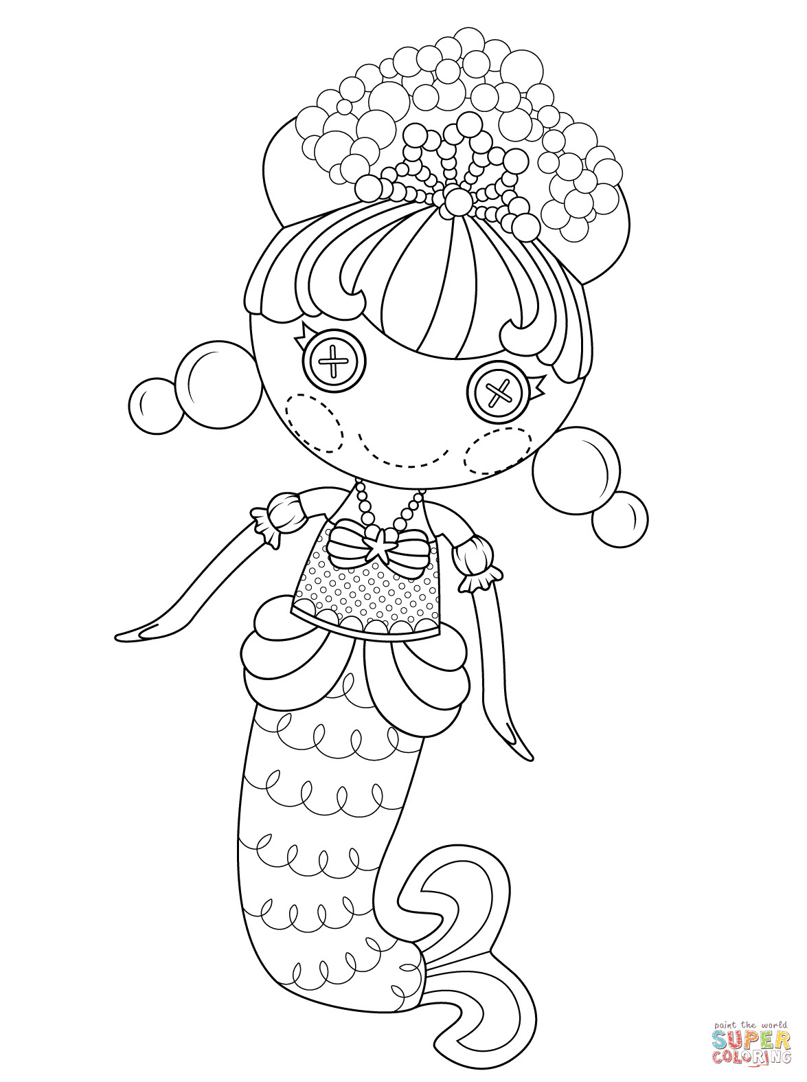 Lalaloopsy Printable Coloring Sheets  Lalaloopsy Bubbly Mermaid coloring page
