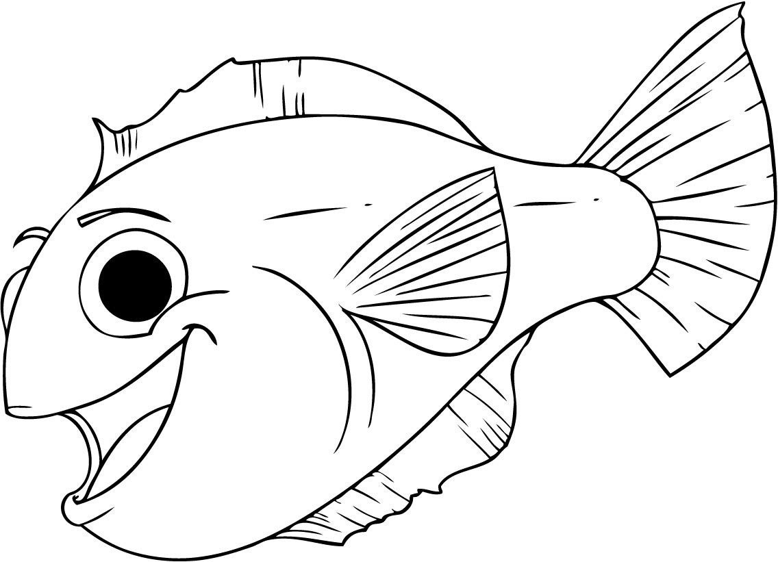 Large Coloring Books For Toddlers  Free Printable Fish Coloring Pages For Kids