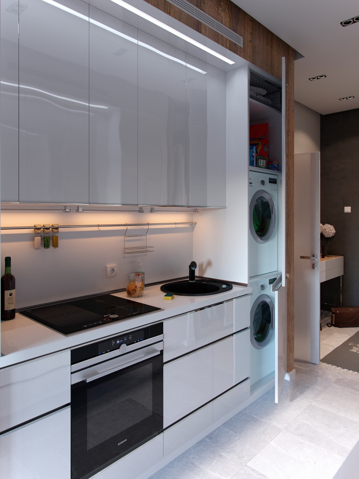 Best ideas about Laundry In Kitchen . Save or Pin Bold Decor In Small Spaces 3 Homes Under 50 Square Meters Now.