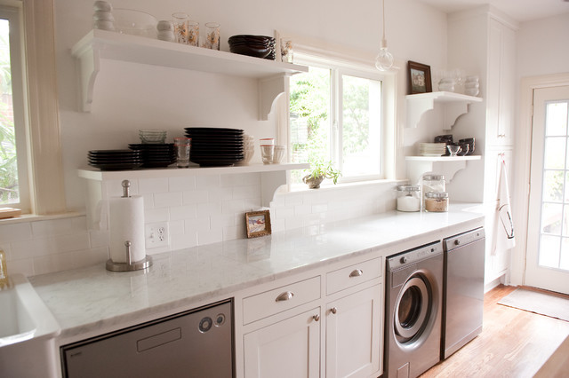 Best ideas about Laundry In Kitchen . Save or Pin Our bright white open kitchen Traditional Laundry Now.