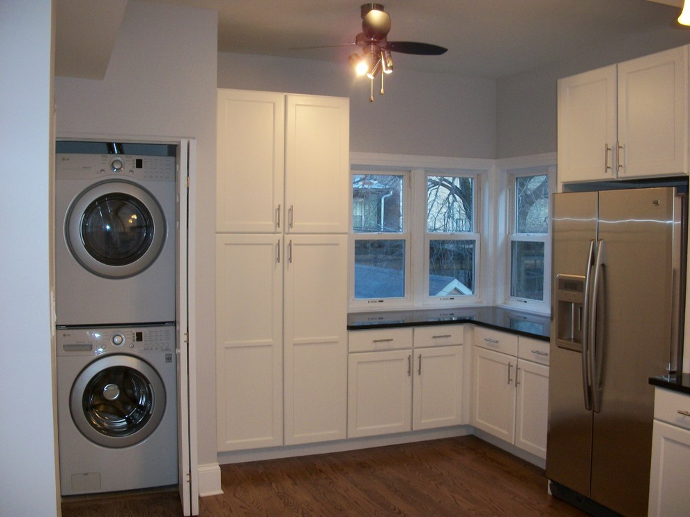 Best ideas about Laundry In Kitchen . Save or Pin stackable washer dryer Laundry Room Traditional with built Now.