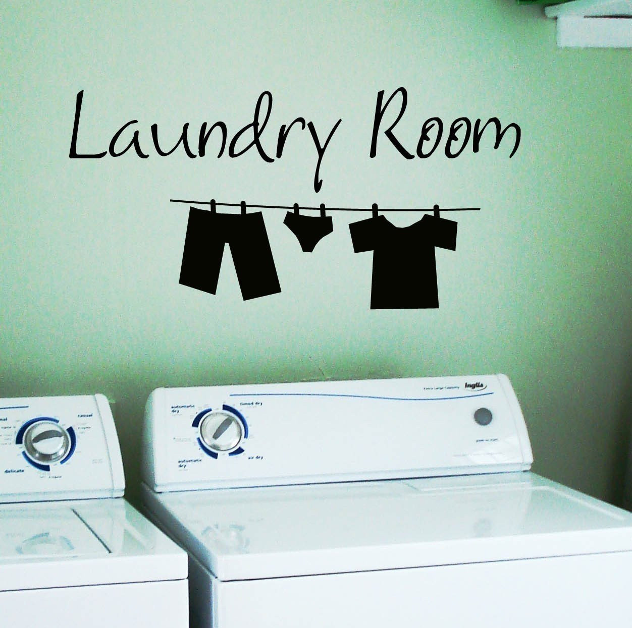 Best ideas about Laundry Room Decals . Save or Pin Laundry Room Wall Decal Clothes Line Removable Vinyl Now.