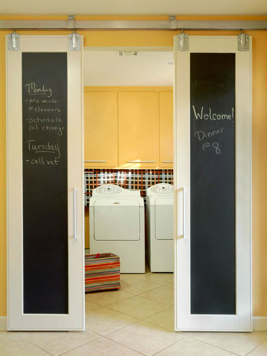 Best ideas about Laundry Room Doors . Save or Pin Yellow Cabinets Eclectic laundry room BHG Now.