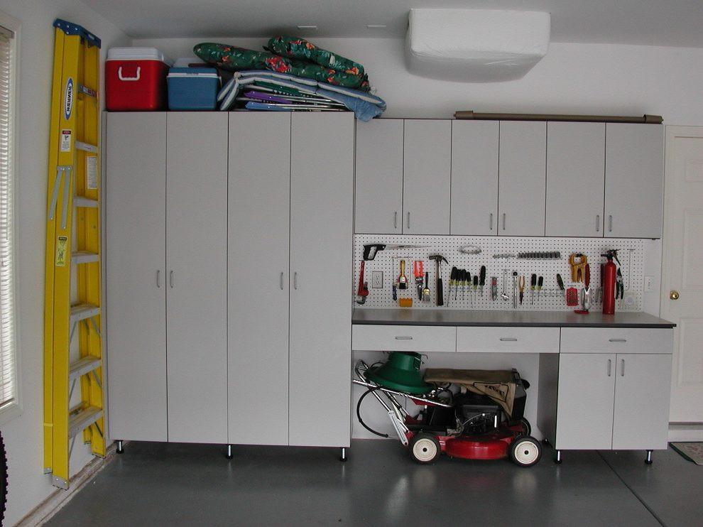 Best ideas about Lawn Mower Garage Storage . Save or Pin Lawn Mower Storage garage transitional with garage floors Now.