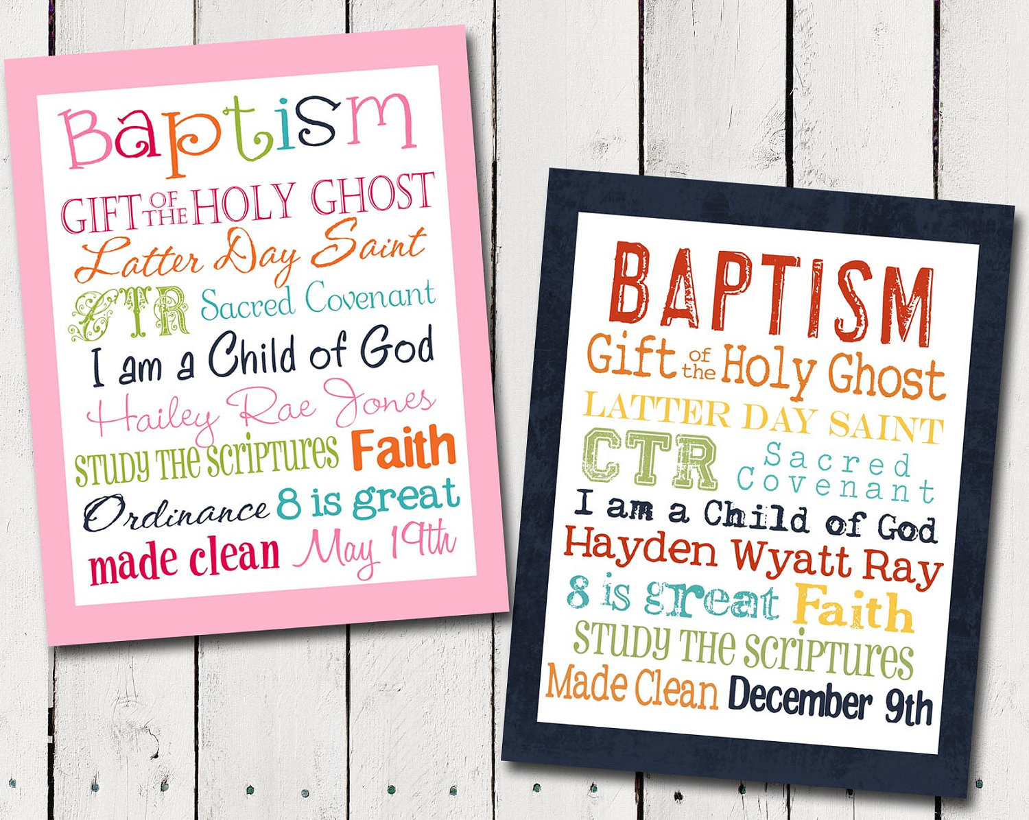 Lds Baptism Gift Ideas For Boys  Girl or Boy Personalized LDS Baptism by TamiRayCardsandPrint