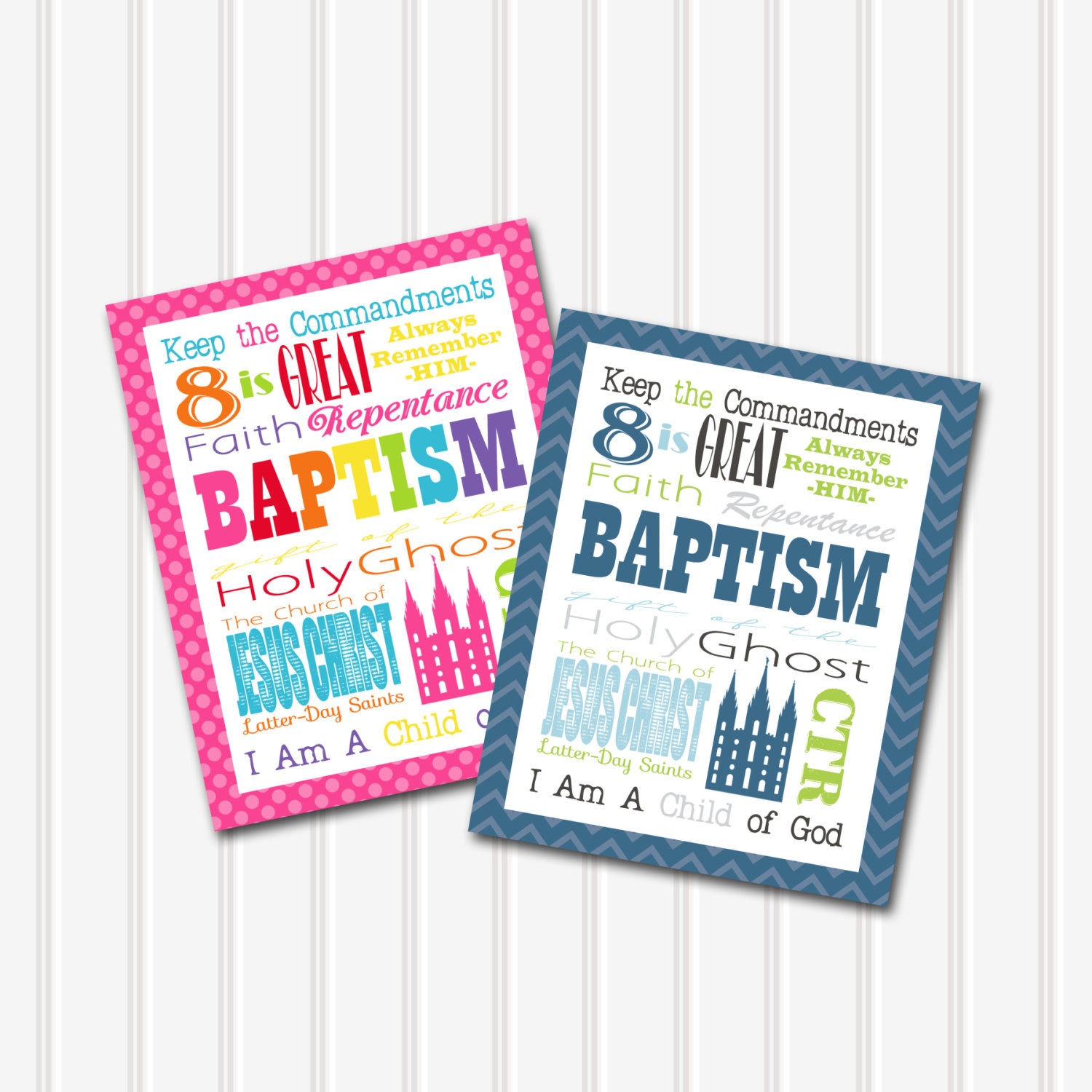 Lds Baptism Gift Ideas For Boys  LDS Baptism Gift Subway Art Printable Boy and Girl 8x10 10