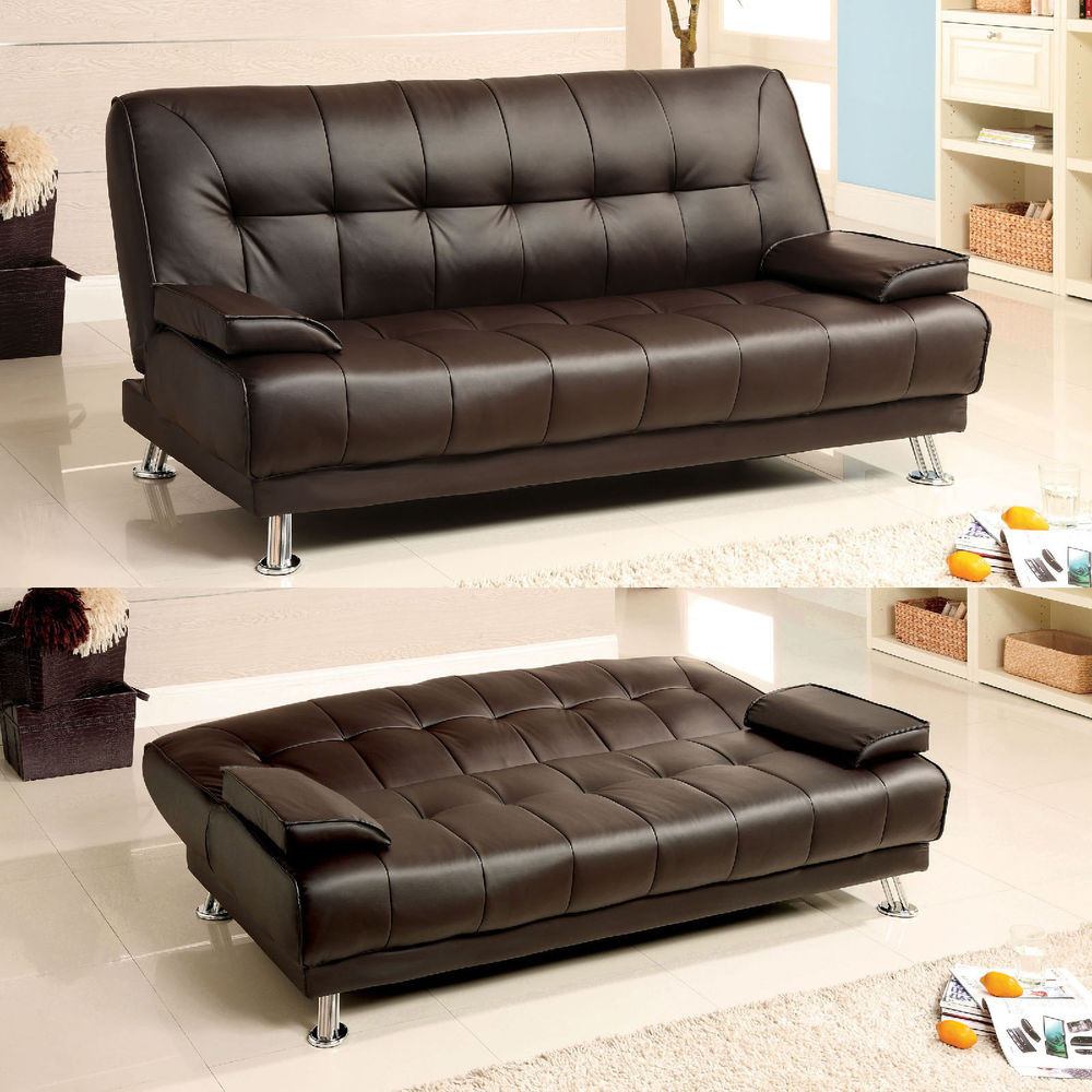 Best ideas about Leather Sofa Sleeper . Save or Pin Modern fort Soft Brown Bycast Leather Arm Futon Sofa Now.