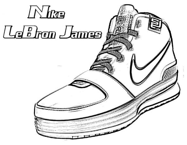 Lebron James Coloring Pages  Nike LeBron James Shoes Coloring Page