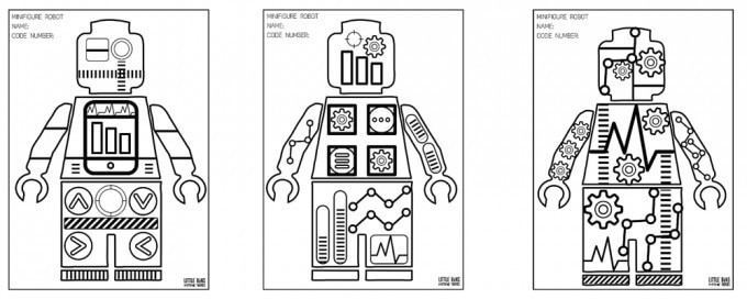 Lego Robot Coloring Pages  Minifigure Robot Coloring Pages Free Printable Coloring Sheets
