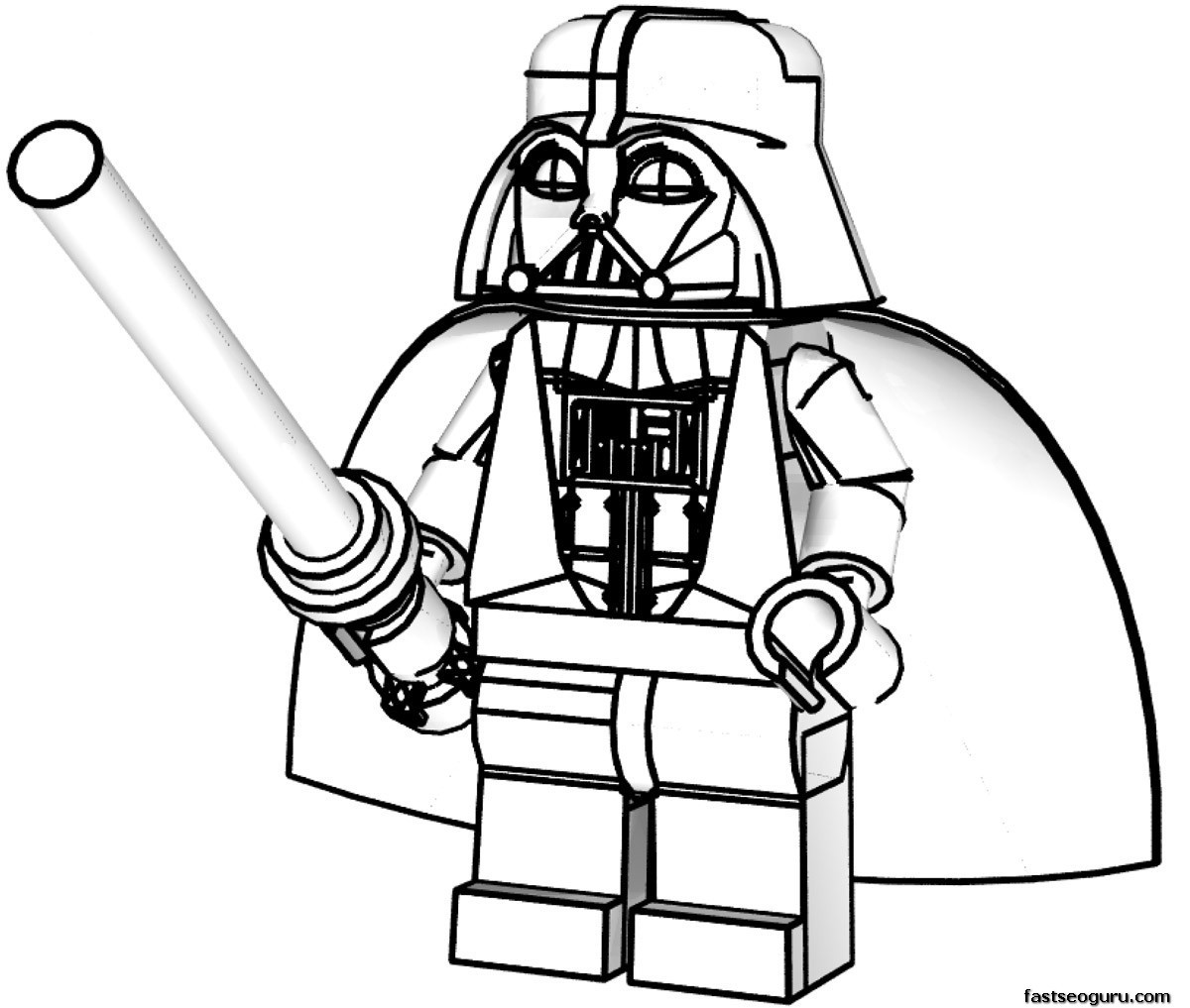 Lego Star Wars Coloring Pages  Lego Star Wars Luke Skywalker Coloring Page Free Printable