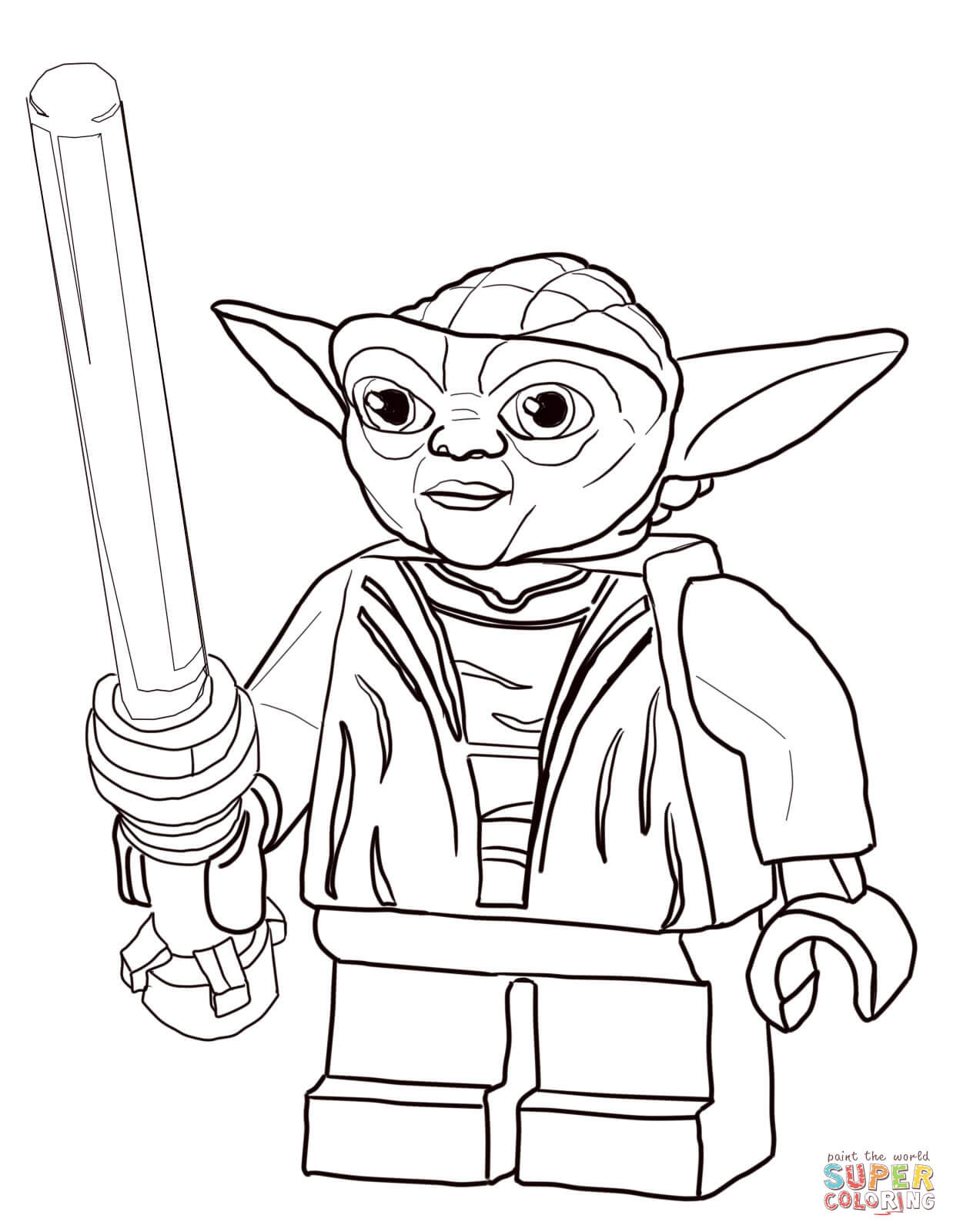 Lego Star Wars Coloring Pages  Lego Star Wars Master Yoda coloring page